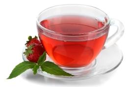 Delicious strawberry tea isolated on white